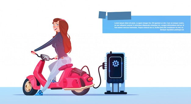 Young girl sit electric scooter charging at station red vintage motorcycle hybrid transport Premium Vector