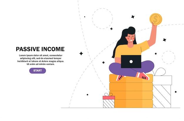 Молодая девушка, сидя на стеке деньги, золотые монеты с ноутбуком, пассивный доход, инвестиции, финансы сбережений, внештатный, удаленная работа. Premium векторы