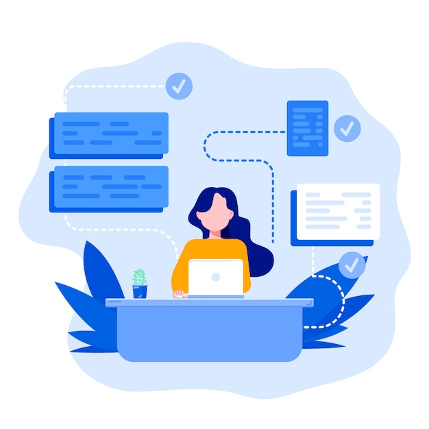 A young girl sitting and working. Premium Vector