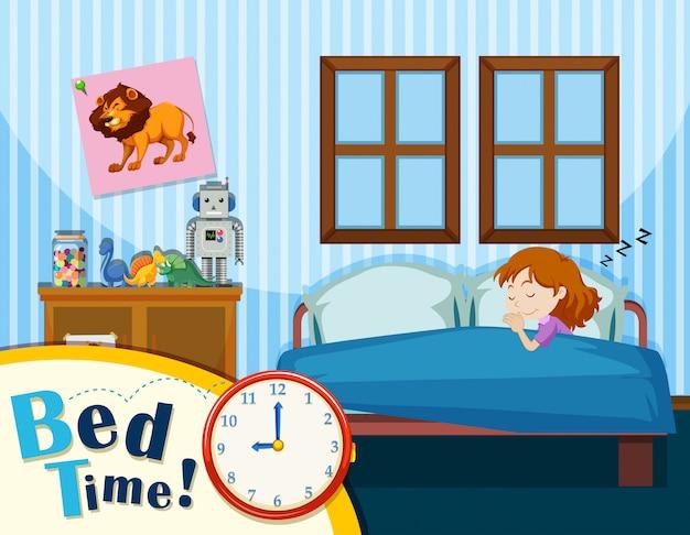 A young girl sleeping in blue bedroom Premium Vector