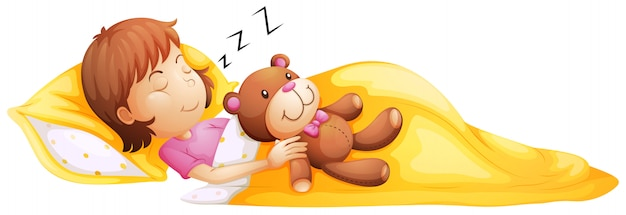 A young girl sleeping with her toy Free Vector