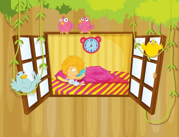 A young girl sleeping Premium Vector