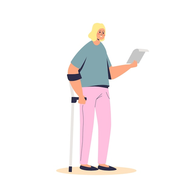 Young girl standing on crutch hold disability allowance documents. disabled cartoon female character with money support and social insurance help. Premium Vector