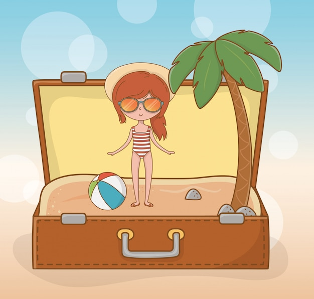 Young girl in suitcase on the beach scene Premium Vector