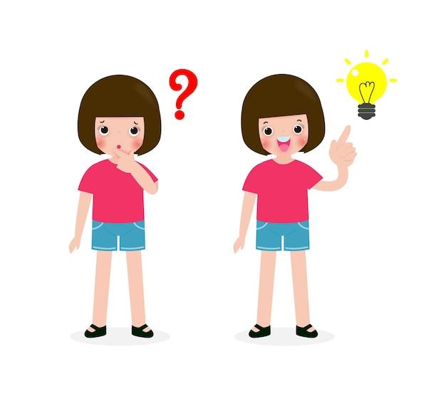 若い女の子の思考のアイデア、かわいい子供たちのキャラクター、白い背景のイラストで隔離の質問とインスピレーション Premiumベクター