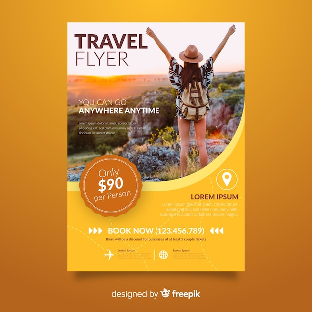 Young girl travel poster template Free Vector
