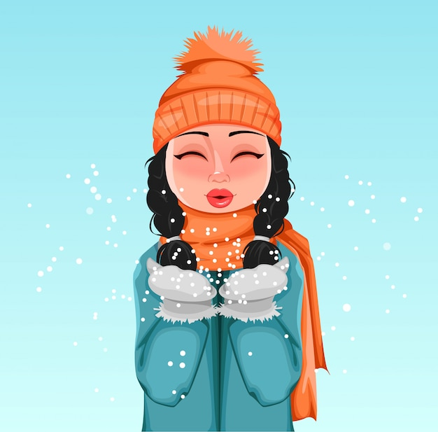 Young girl in winter clothes playing with snow Premium Vector