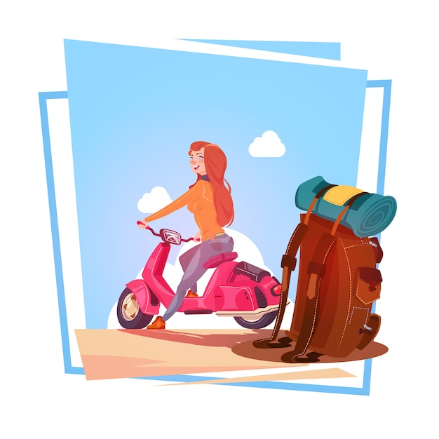Young girl with backpack travel on electric scooter woman tourist riding vintage motorcycle over blu Premium Vector