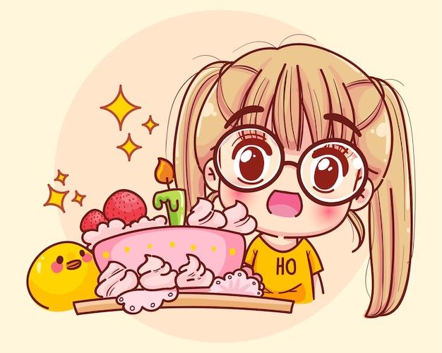 Ragazza con la torta sull'illustrazione del fumetto della festa di buon compleanno Vettore gratuito