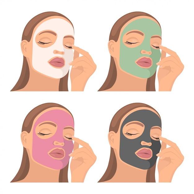 Young girl with a cosmetic mask on the face. Premium Vector