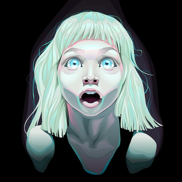 Young girl with eyes wide open Free Vector