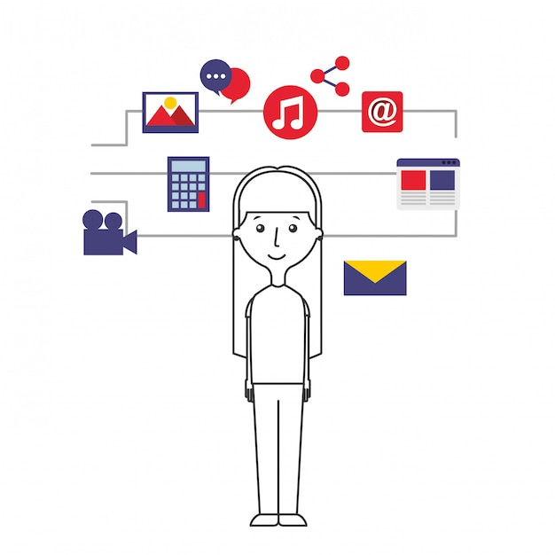 Young girl with internet icons Premium Vector