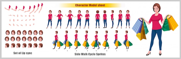 ウォークサイクルアニメーションとリップシンクのあるショッピングyoung girlキャラクターモデルシート Premiumベクター