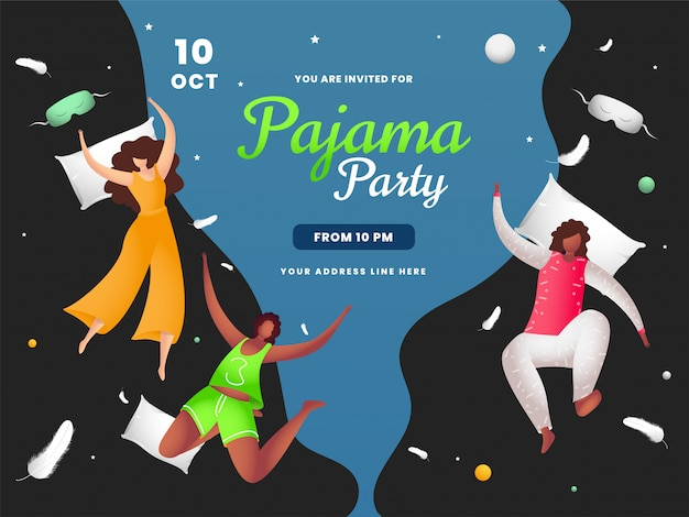 パジャマパーティーの機会に枕を飛んで楽しんでいる若い女の子。バナーとして使用できます Premiumベクター