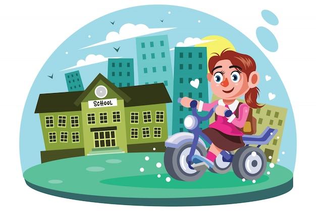 Young girls go to school vector illustration Premium Vector