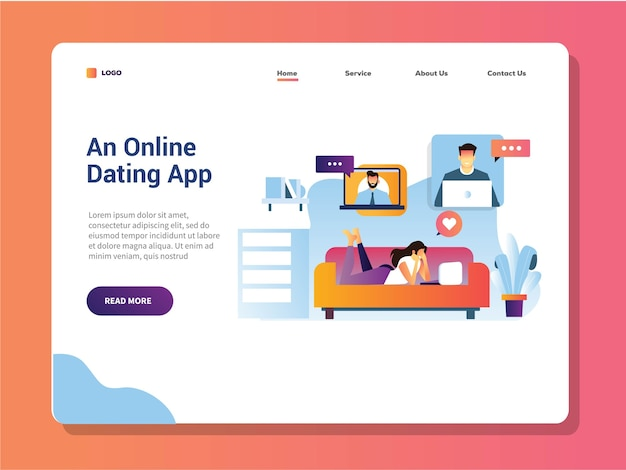 Young girls lay on sofa watch her laptop for online dating landing page Premium Vector