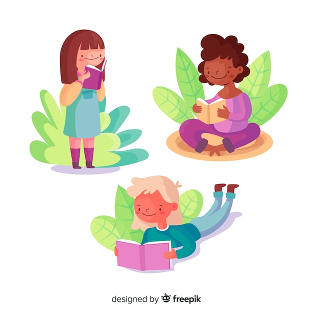Young girls reading outside Free Vector