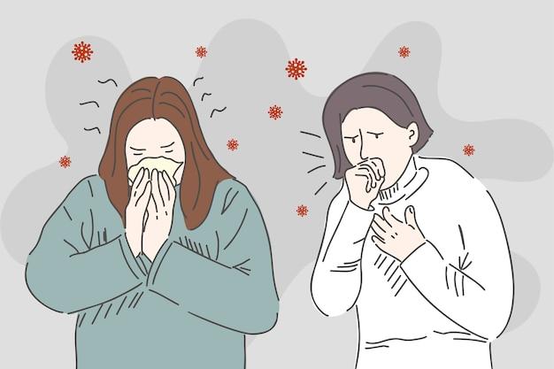 若い女の子はくしゃみと咳をします。カロナウイルスの症状。直線的なスタイルで描画します。トレッド保護コンセプト。 Premiumベクター