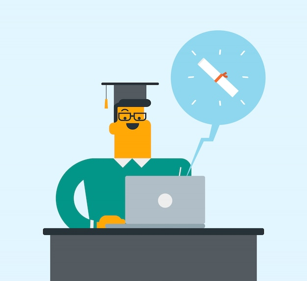 Young graduate getting diploma from the computer. Premium Vector