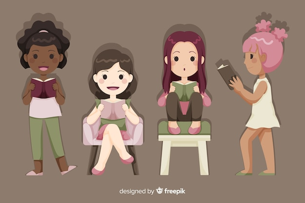 Young group of girls chilling and reading Free Vector