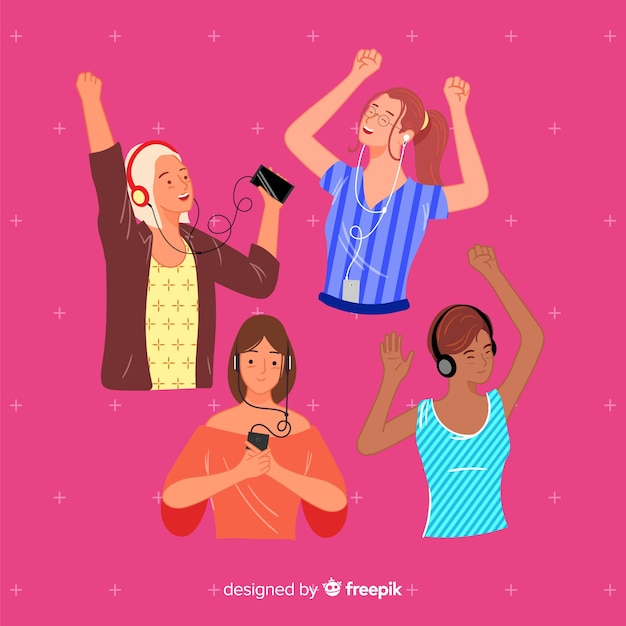 Young group of people listening music concept Free Vector