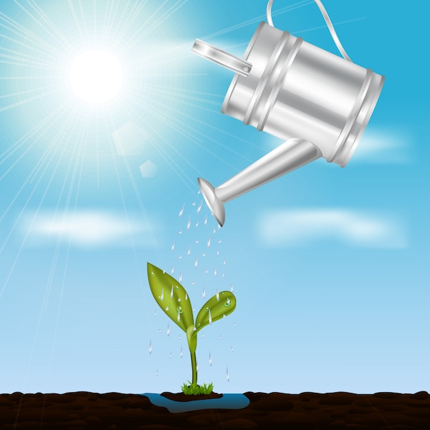 Young growing sprout illustration Free Vector