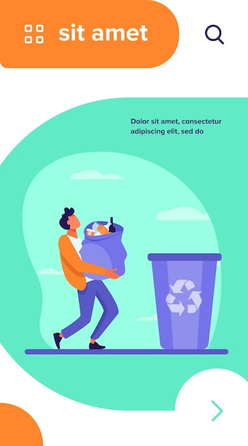 Young guy carrying bag with garbage to trash bin. container, rubbish, junk flat vector illustration Free Vector