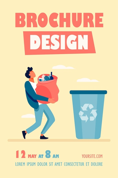Young guy carrying bag with garbage to trash bin flyer template Free Vector
