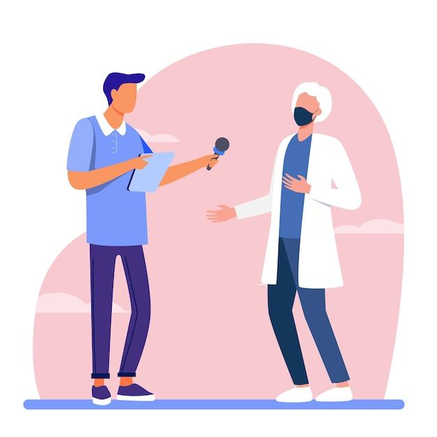 Giovane ragazzo intervistando medico in maschera. microfono, quarantena, reporter piatta illustrazione vettoriale. pandemia e protezione Vettore gratuito
