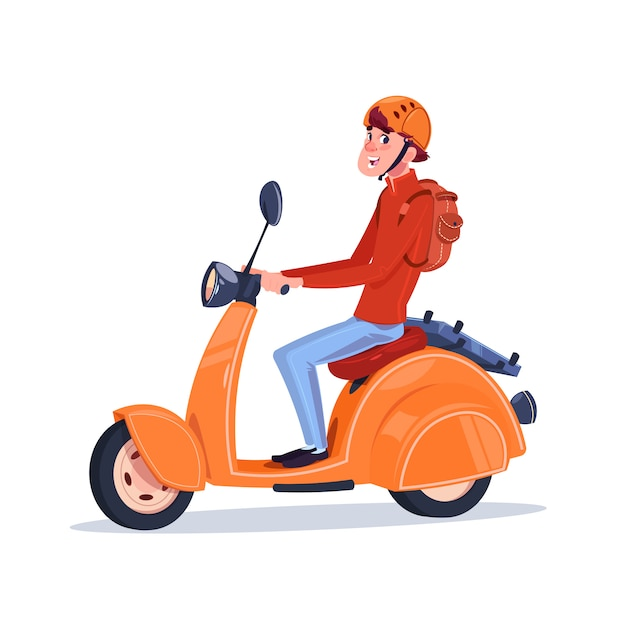 Young guy riding electric scooter vintage motorcycle isolated on white background Premium Vector