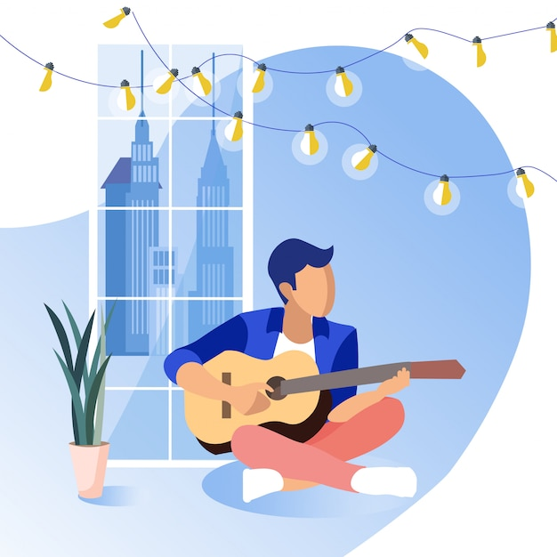 Young guy sitting on floor playing guitar.. Premium Vector