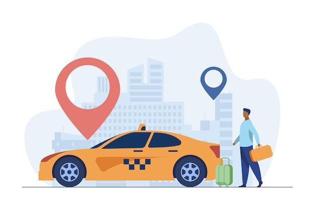 Giovane ragazzo che viaggia in taxi per la città. marker, destinazione, bagaglio piatto illustrazione vettoriale. trasporti e stile di vita urbano Vettore gratuito