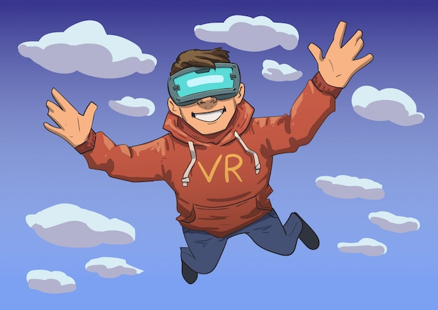 Young guy in vr headset flying in the sky. happy kid in virtual reality. colorful  line  illustration. horizontal. Premium Vector