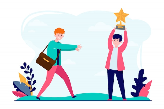 Young guys with star award Free Vector