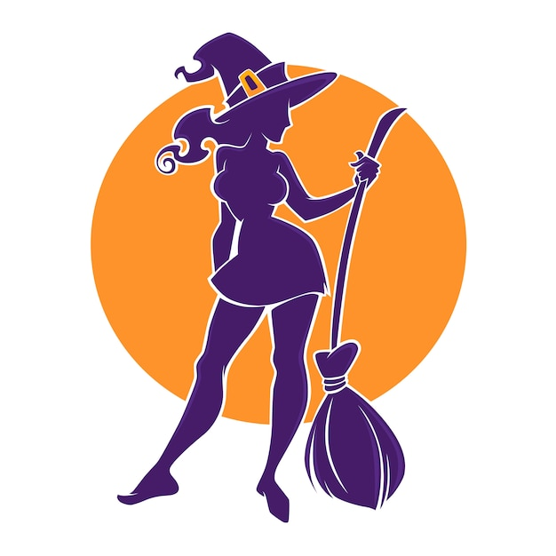 Young happy and attractive witch image , for your halloween flyer, logo, label, emblem Premium Vector