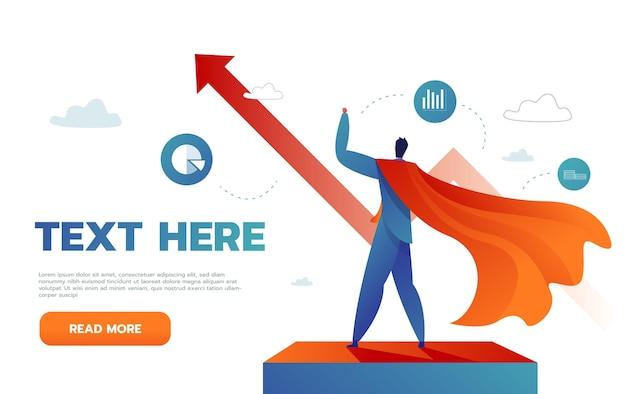 Il giovane uomo d'affari felice come un supereroe vola fino al successo. il concetto di vittoria Vettore gratuito