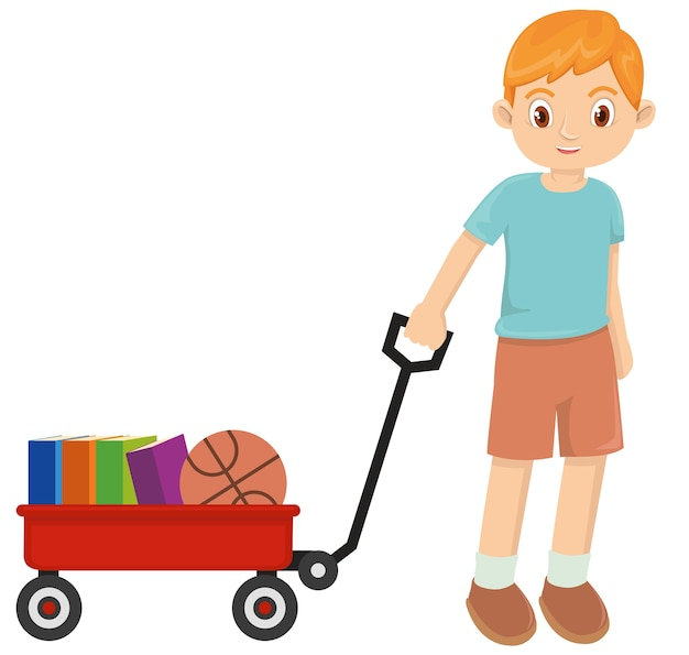 Young happy little boy playing with red wagon Premium Vector