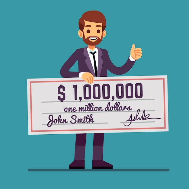Young happy man holding money prize check for one million dollars. cash lottery winnings and success vector concept Premium Vector