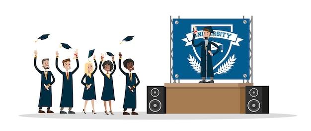卒業証書を持って、空気中の帽子を投げる卒業式の日に幸せな若者。スピーチをする学生の笑顔。図 Premiumベクター