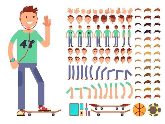 Young and happy vector character creation constructor. student boy with headphones Premium Vector