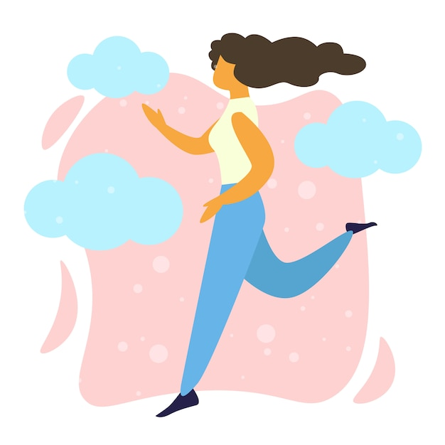 Young Happy Woman Running Healthy Lifestyle Vector