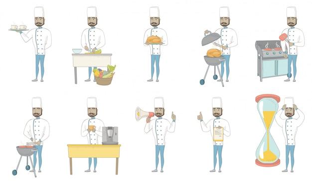 Young hindu chef character set Premium Vector