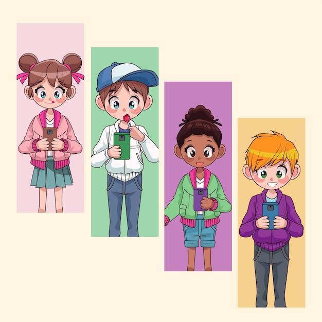 Young interracial teenagers kids using smartphones characters  illustration Premium Vector
