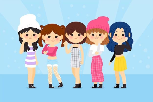 Группа молодых к-поп девушек Бесплатные векторы