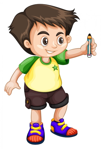 Young kid holding a pencil Free Vector