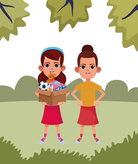 Young kids avatar carton character Premium Vector