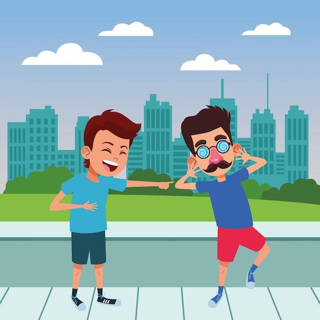 Young kids avatar carton character Free Vector