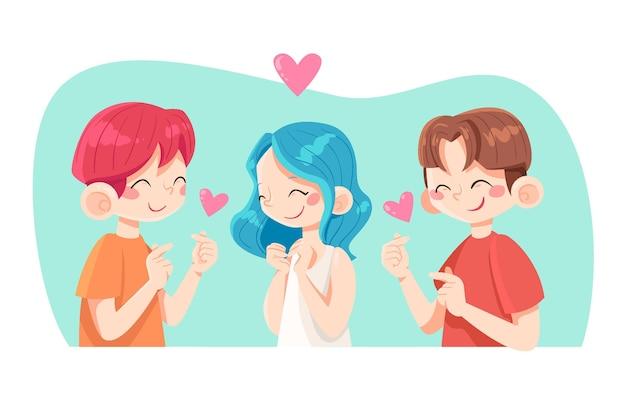 Молодые корейцы делают сердце пальцем Бесплатные векторы