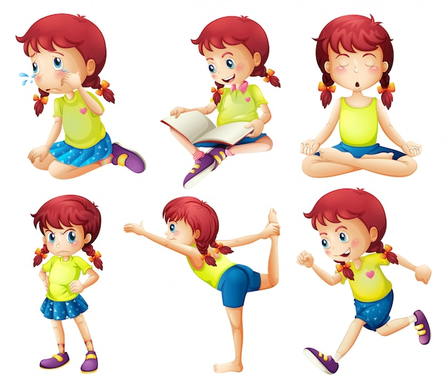 A young lady doing different activities Free Vector