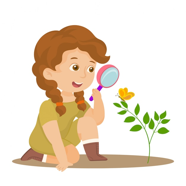 Young lady at expedition investigate nature Premium Vector